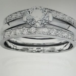 None Jewelry - 1.5 Ct. Round Diamonelle Bridal Ring Set 8